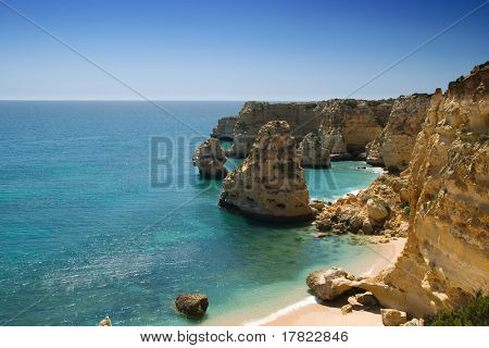 Section of the idyllic Praia da Marinha beach, Algarve, Portugal
