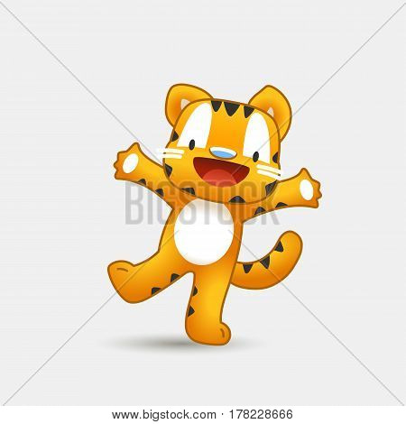 Funny tiger. vector illustration cartoon, mascot. cute tiger on a footprint background. little animal in the children's textile character style