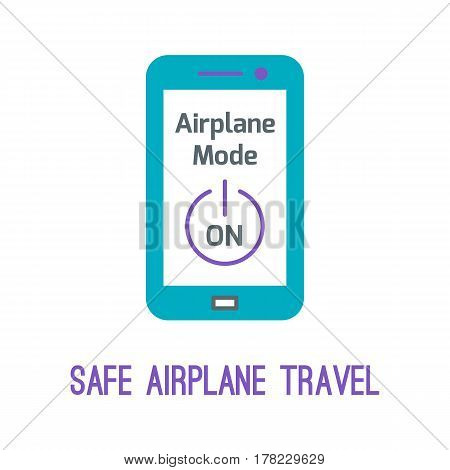 Concept of rules of airplane safety for banner design. Vector thin line icon of on airplane mode on devices for safe travel isolated on white. Safe plane flight.