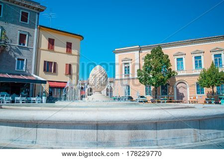 Fountain in Santarcangelo with pine cones italy Europe