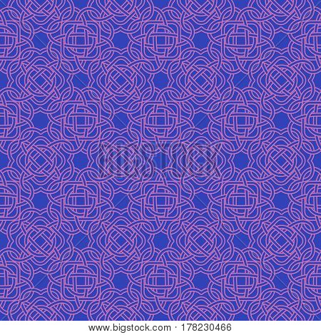 Celtic Seamless Pattern In Medieval Style. Plexus Background In Contrasting Colors. Endless Repeat B