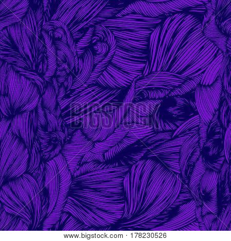 Vector Seamless Wave Doodle Hand Drawn Pattern In Purple Colors. Can Be Used For Wallpaper, Pattern