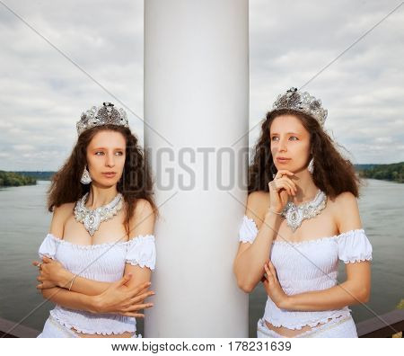 woman in crown and jewelery. outdoor shot