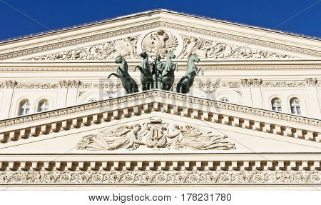 Russia, Moscow, February 02, 2017: Bolshoi Theater is the national treasure of the country. The oldest musical theater of Russia is located practically in the center of Moscow, on the Theater Square