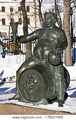 Moscow, Russia - February 02, 2017: Drug addiction, prostitution, theft. Detail of the monument