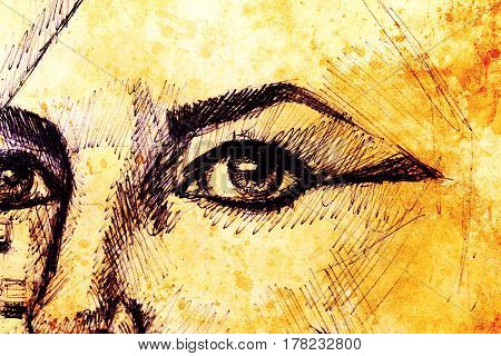 Drawing of woman eye on graphic background with structure effect