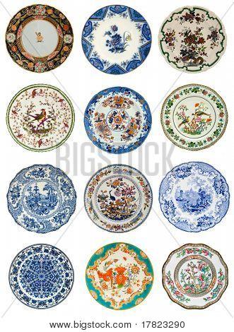 Twelve antique plates of various design, all 19th century - genuine antiques series