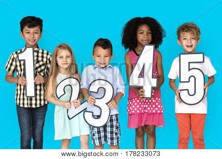 Little Kids Holding Number Smile