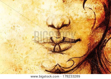 drawing of woman lower lace wit detail of lips and chin with ornaments, on abstract background