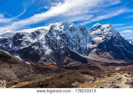 Valley and Mountains View of high Altitude Peaks and Glaciers in Nepal Himalaya