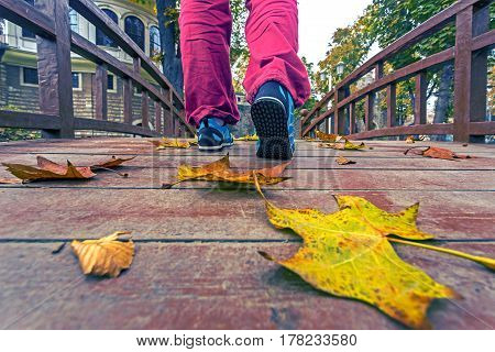 Adult Person in blue sport Shoes and red casual Pants walking on wooden Boardwalk in Downtown Park covered by colorful autumnal dry Leaves