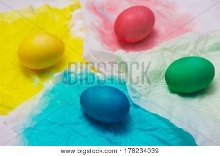 Happy Easter! Painting colorful easter eggs on table.