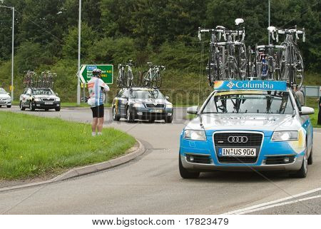 TELFORD, UK - SEPTEMBER 10: Tour of Britain Cycle Race - Support Vehicles Follow the Racers During Stage 4, Newport, Telford, September 10, 2008