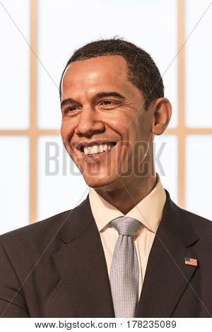 Bangkok-jan 29:a Waxwork Of Barack Hussein Obama On Display At Madame Tussauds On January 22, 2016 I