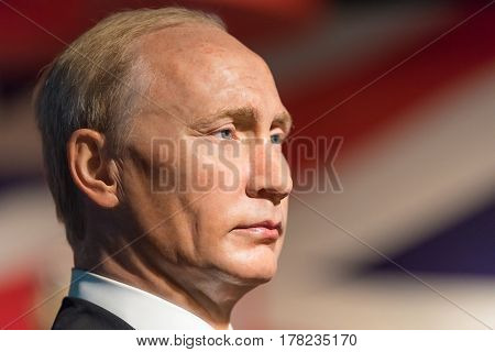 Bangkok -jan 29: A Waxwork Of Vladimir Putin On Display At Madame Tussauds On January 29, 2016 In Ba