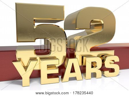 Golden digit fifty two and the word of the year. 3D illustration