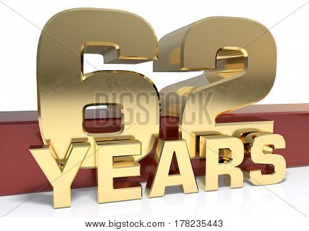 Golden digit sixty two and the word of the year. 3D illustration