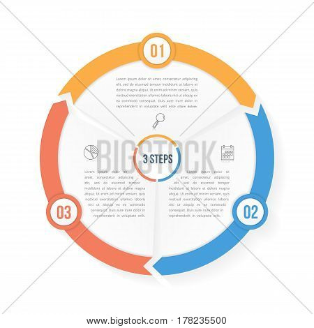 Circle infographic template with three elements steps or options, vector eps10 illustration