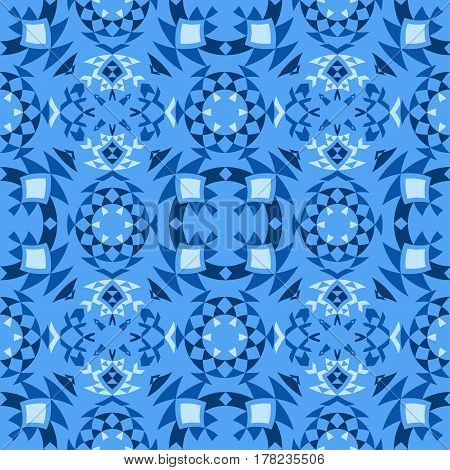Ethnic seamless pattern with triangle and abstract geometric ornament. Tribal background texture. Vector illustration blue background.
