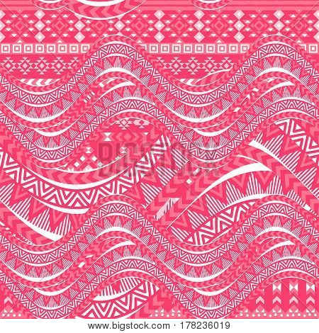 Pink waves background. Ethnic seamless pattern ornament, abstract geometric shapes. Tribal motives. Vector illustration.
