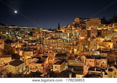 Matera, Basilicata, Italy: view at night of the old town (sassi di Matera), European Capital of Culture 2019