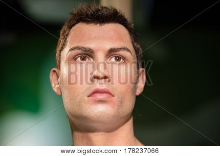 Bangkok -jan 29: A Waxwork Of Cristiano Ronaldo On Display At Madame Tussauds On January 29, 2016 In
