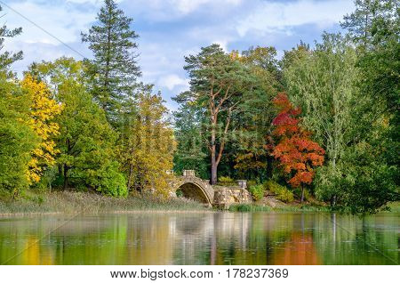 Forest autumn landscape at the Gatchina Palace Park on a background of blue sky and clouds