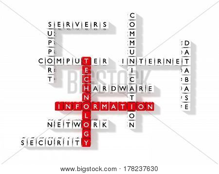 Crossword puzzle showing information technology keywords as dice on a white board flat design IT concept 3D illustration