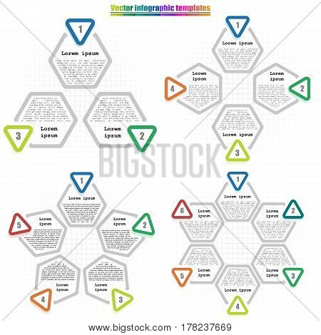 Set of circle infographic template 3-6 options. Hexagon elements with inscriptions and numbers on cell background. For presentation and design concept. Vector illustration.