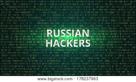 Russian Hackers Abstract Technology Background. Computer Code. Vector Illustration.