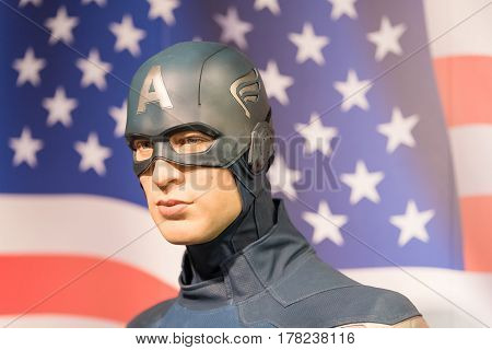 Bangkok -jan 29 : A Waxwork Of Captain America On Display At Madame Tussauds On January 29, 2016 In