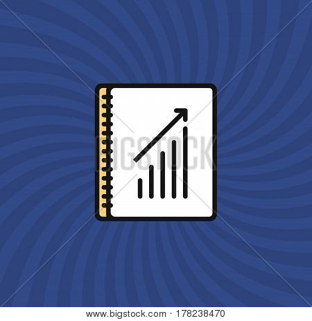 Document Graph Icon, Simple Line Cartoon Vector Illustration