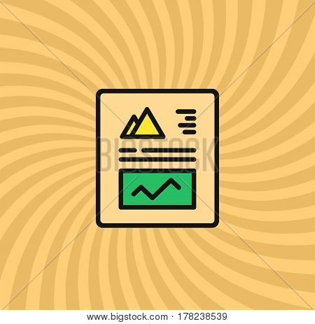 Graphics and Charts Document Icon, Simple Line Cartoon Vector Illustration