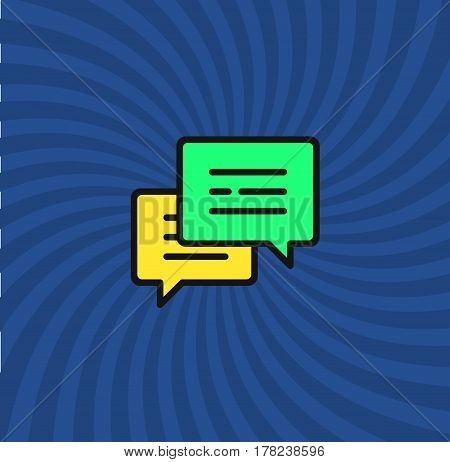 Comments Icon, Simple Line Cartoon Vector Illustration