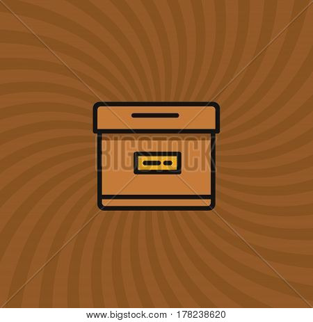 Archive Box Icon, Simple Line Cartoon Vector Illustration