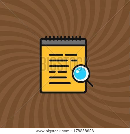 Documents Magnifier Glass Icon, Simple Line Cartoon Vector Illustration