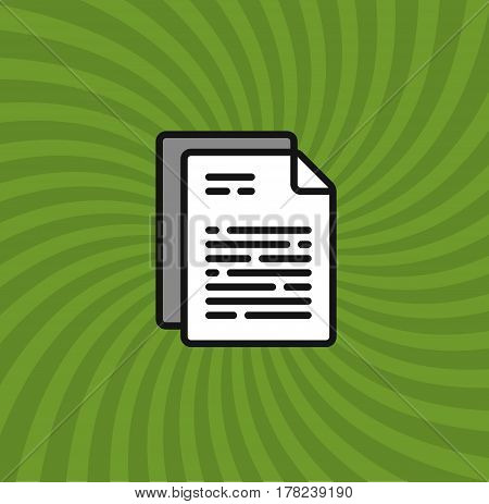 Documents Icon, Simple Line Cartoon Vector Illustration