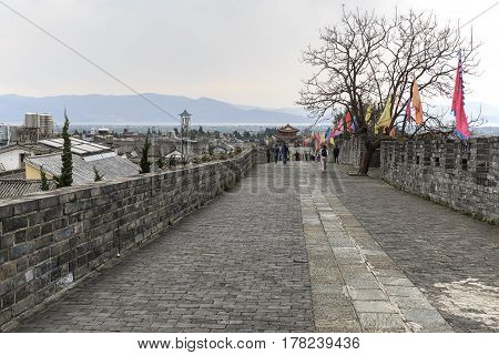 Dali, China - March 18, 2017: Ancient Walls Sorrounding The Old Town Of Dali In Yunnan, The Ancient