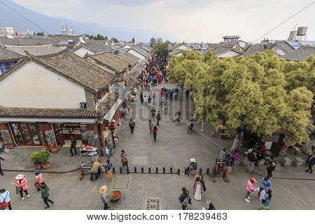 Dali, China - March 18, 2017: Aerial View Of The Old Town Of Dali In Yunnan, The Ancient Kingdom Of