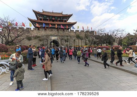 Dali, China - March 18, 2017: Tourists Walking Outside Of The Wall Of The Old Town Of Dali, The Anci