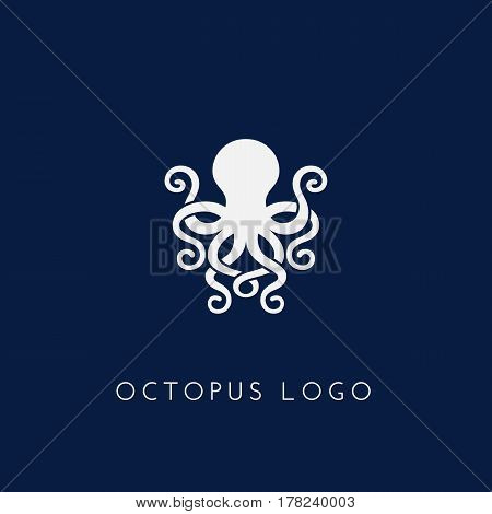 Template for logo labels and emblems with white silhouette of octopus. Vector illustration.