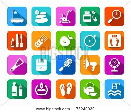 Beauty and health, icons, colored, flat, vector. Care for body and face. White icons on a colored background with a shadow. Flat, vector clip art.