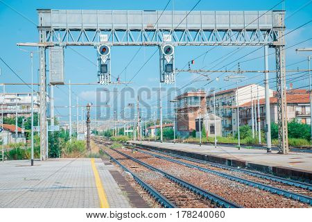 Old railway station Sunny afternoon in italy europa