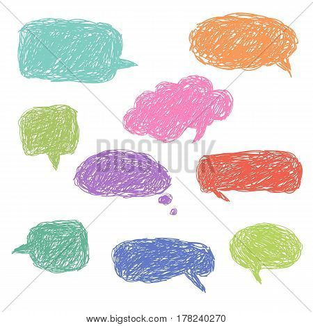 Set of blank colorful hand drawn speech bubbles and dialog balloons. Vector simple elements for your design