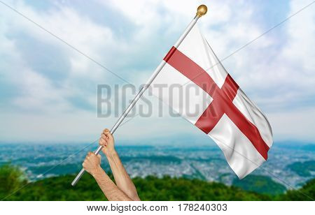 Young man's hands proudly waving the England national flag in the sky, part 3D rendering