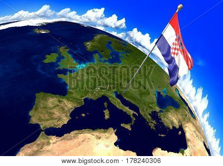 Croatia national flag marking the country location on world map. 3D rendering, parts of this image furnished by NASA