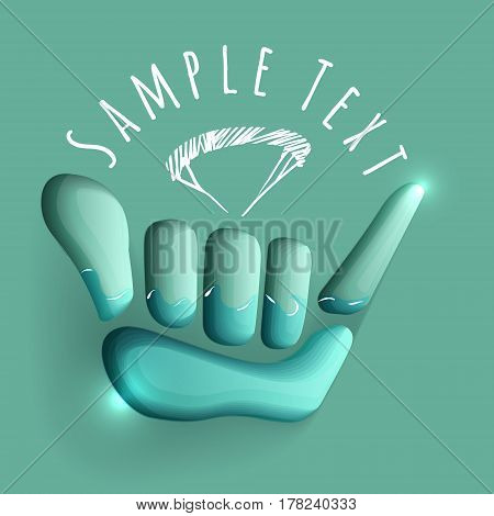 vector logo illustration. Shaka  symbol. sport  emblem. Sportsclub or championship symbol.