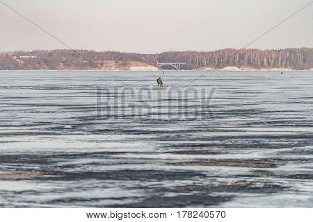 Kaunas Lagoon Water Freezes