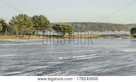 Lagoon Water Freezes
