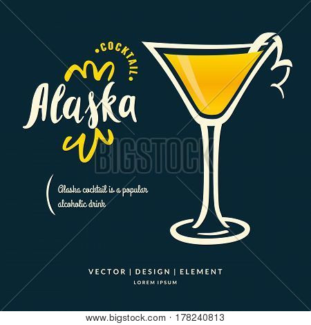 Modern hand drawn lettering label for alcohol cocktail Alaska. Calligraphy brush and ink. Handwritten inscriptions for layout and template. Vector illustration of text.